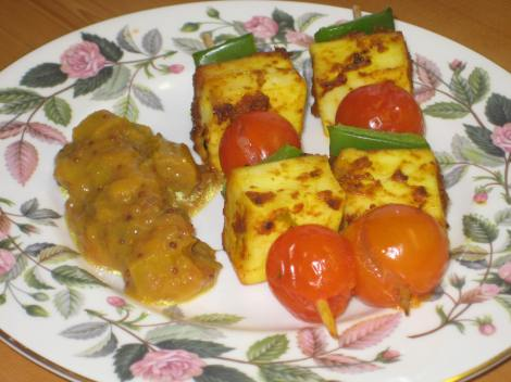 Paneer & Vegetable Kebabs with our Rhubarb Chutney