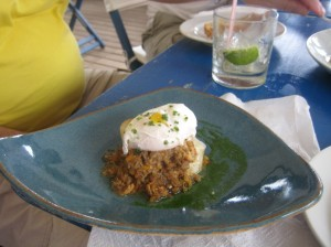 Crab meat with a soft poached Egg