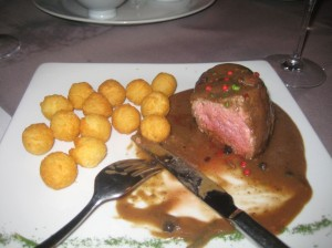 Steak with a mixed peppercorn sauce