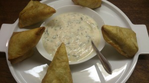 Pea & Potato Samosa served with Mint & Chilli Yoghurt