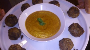 Lamb Kofta with Saffron dipping sauce.