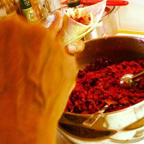 filling samosas