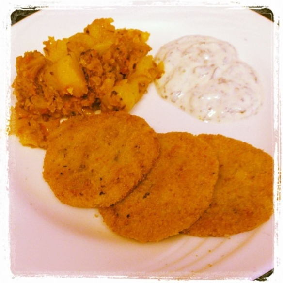 Potato Tikkia with a Minted Raita and Jeruselem Artichoke Masala fresh from the allotment